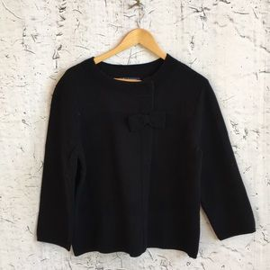 BROOKS BROTHERS BLACK CARDIGAN WITH BOW XL